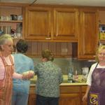 Pie bakers in the kitchen. L to R Cynthia Ayers, Dorothy Holmes, Jan Graham, and Bernice Montefusco